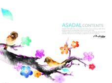 水彩花鸟画PSD设计素材图片