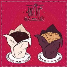 时尚手绘甜品蛋糕插画