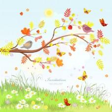 秋季卡通背景设计图片