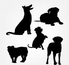 五个可爱的狗剪影包