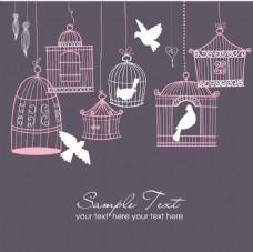 唯美粉色的小鸟和鸟笼插画