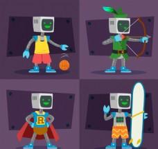 扁平体育运动机器人素材