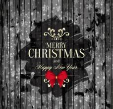 黑色木紋圣誕賀卡矢量素材圖片