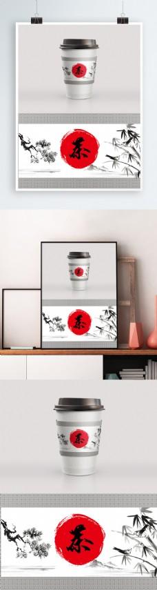 中式茶文化风格咖啡杯奶茶杯套模板设计