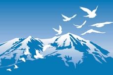 雪山与白鸽