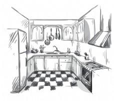 手绘时尚现代厨房插画