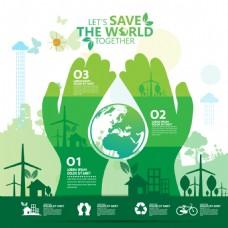 绿色爱护环境插画