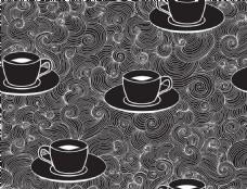黑白时尚花纹咖啡杯背景