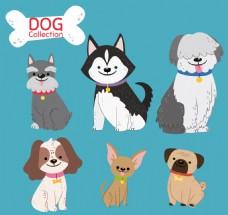 六只可爱的卡通狗