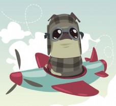 坐在飞机飞行的哈巴狗