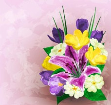 唯美水彩绘花卉插画