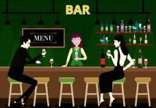 在酒吧喝酒AI矢量元素