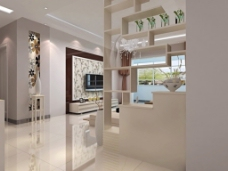 客厅玄关3D模型设计