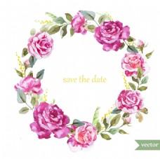 时尚水彩绘玫瑰植物插画