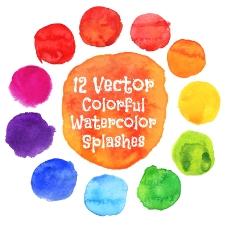 12色水彩圆点设计矢量素材