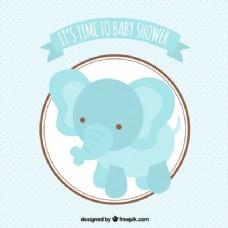 婴儿洗澡卡的蓝色大象