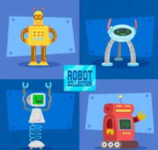 扁平卡通机器人素材