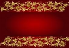 红色欧式花纹背景素材