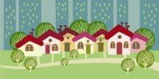 趣味森林里的红房子插画