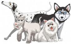 不同种类的可爱狗狗插画