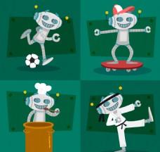 白色运动锻炼机器人素材