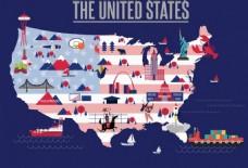 美国旅行地图AI矢量元素