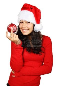 快乐可爱的圣诞女孩