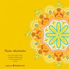 黄色曼陀罗背景