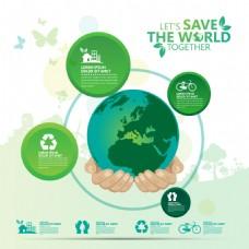时尚绿色环保地球插画