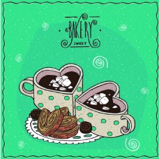 时尚手绘爱心下午茶插画