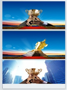 手举金色奖杯商业海报背景