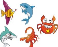 矢量魚類 螃蟹圖片