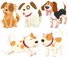 不同种类的小狗插画