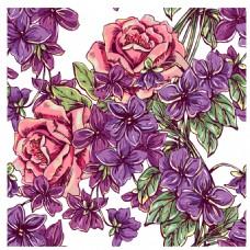 手绘紫色复古花朵插画