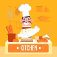 厨房美食ai矢量素材下载