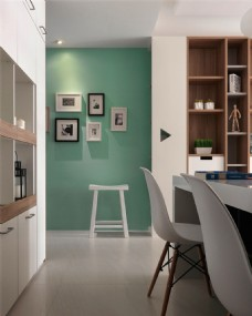 现代清新客厅薄荷绿背景墙室内装修效果图