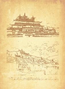 西藏剪影圖片