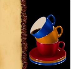 彩色的咖啡杯子插画