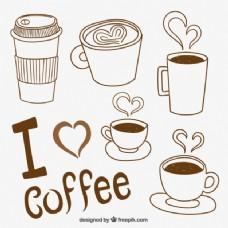 简略的咖啡杯系列