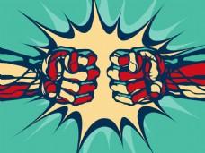 创意手绘有力量的拳头插画