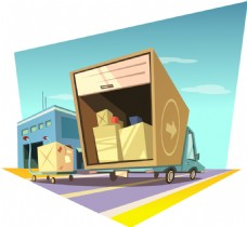 卡通趣味物流业货车插画