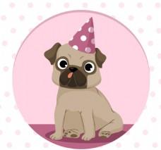 可爱的派对哈巴狗