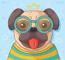 手绘戴眼镜的哈巴狗