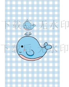 可愛藍色手繪小鯨魚卡通矢量圖圖片