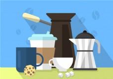 矢量手绘咖啡元素插画