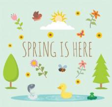 可爱春天元素插画矢量素材
