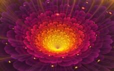 梦幻花朵分形艺术背景