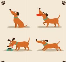 矢量卡通腊肠狗吃和玩