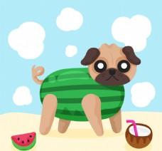 各种水果的卡通哈巴狗