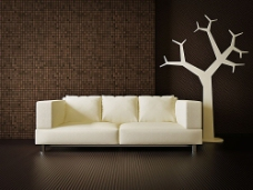 简约沙发与背景墙